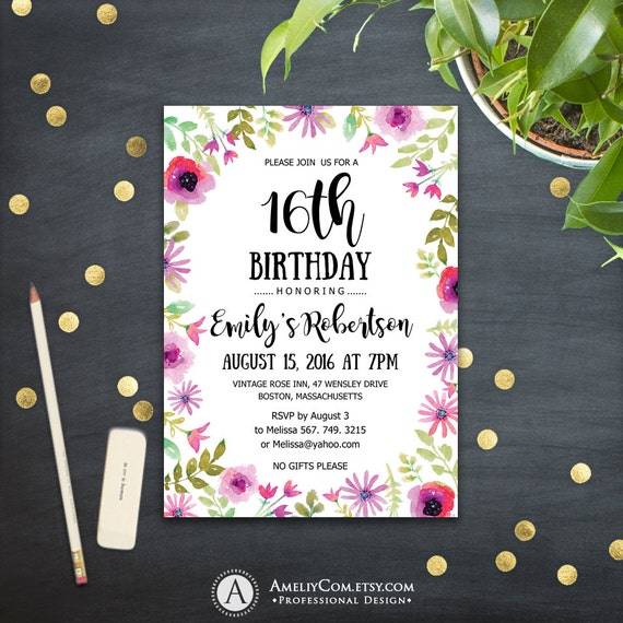 16th Surprise Birthday Invitations Printable Sweet Sixteen