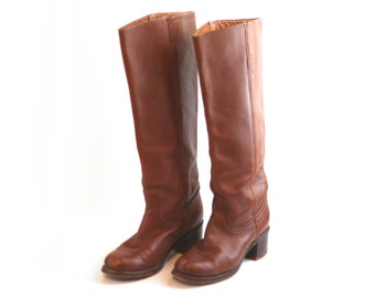 STOREWIDE SALE 20% Off ~ Cognac Vintage Frye Leather Knee High Boots / 1970s 1980s