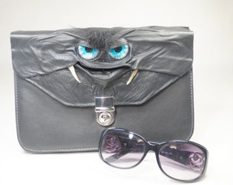 Clutch Purse Handbag Black Leather Monster Harry Potter Labyrinth
