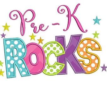Pre-K Rocks Back to School Embroidery Design - Instant Download