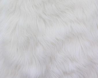Faux/Fake Fur Luxury Shag White 58 Inch Fabric by the Yard - 1 Yard