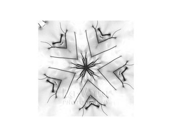 Ski Cabin Decor, Abstract Snow Scene, Winter Art, Snow Photo, Black and White Photo, Kaleidoscope, Bold Graphics