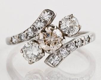 Vintage Engagement Ring - Vintage 1940s 14k White Gold 3-Stone Diamond Ring
