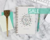 """SALE! 2016 Weekly Planner """"Arrows"""" with monthly spreads, back pocket, stickers, adhesive tabs and more"""