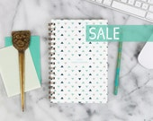 """SALE! 2016 Weekly Planner """"Blue Triangle Pattern"""" with monthly spreads, back pocket, stickers, adhesive tabs and more"""
