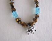 Elephant Necklace, Elephant, Tigers Eye, Tigers Eye Necklace, Stop Elephant Poaching
