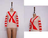 1960s cream red sweater | Vintage 60s red bow striped sweater