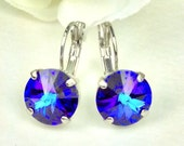 Swarovski Crystal 12MM Drop Earrings Classy & Feminine - Heliotrope - OR Choose Your Favorite Color and Finish FREE SHIPPING