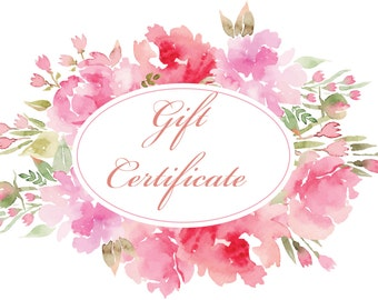 GIFT CERTIFICATE, 75.00 Dollars - The Perfect Gift, Any Occasion Gift Inspiration