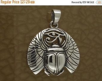 16% Off Sale Egyptian Scarab With Eye of Horace - Solid 925 Silver - All Seeing Eye - Magic Charm