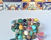 3 charm love stone lava stack tiny tassels mixed wood beaded yogi diffuser turquoise bracelet set