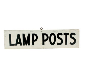 Vintage Lamp Post Wooden Sign // Vintage White and Black Lamp Sign // Vintage Hanging Hardware Shop Sign