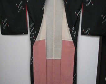 Vintage Kimono,Silk,Dark Green,Japanese Geometric Pattern, No.9