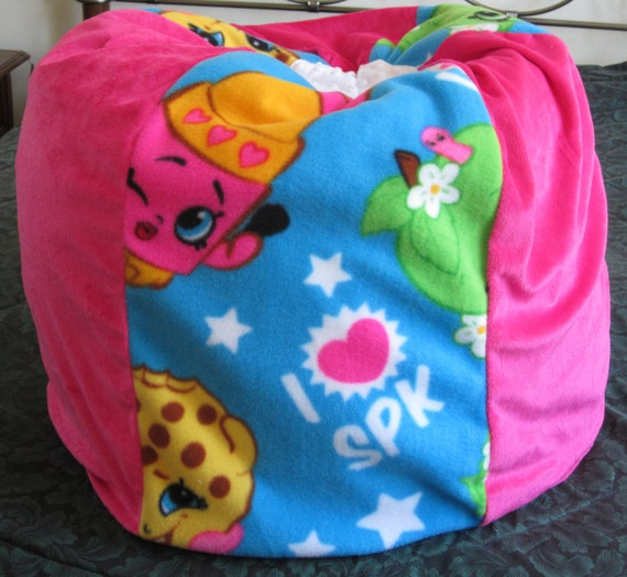 Items similar to SHOPKINS Bean Bag Chair - Floor Pillow- Add Name- Container For Stuffed Toys ...