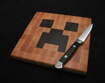 Wood Pixel Art - Cheese Board / Trivet - Minecraft Creeper