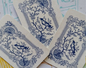 Gorgeous Little Antique Austrian Blue Bird Cards
