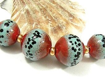 Torched Enameled Copper Focal Beads-Rich Red & Mint -Bohemian-Boho