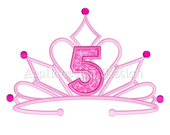 Tiara FIVE Crown Machine Applique Embroidery Design fancy Birthday princess 5 fifth INSTANT DOWNLOAD