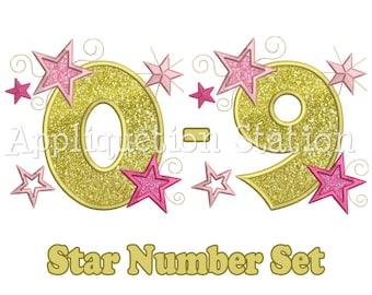 Star Number Set Birthday Applique Machine Embroidery Design 1,2,3,4,5,6,7,8,9,0 INSTANT DOWNLOAD