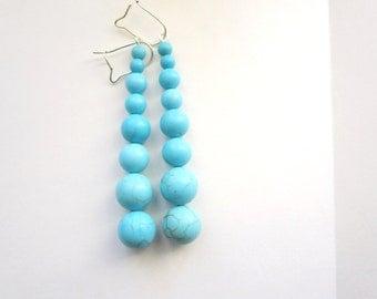 Turquoise Long drop earrings Beaded Turquoise round Earrings -Blue  Earrings -Turquoise jewelry- Bridesmaid gift