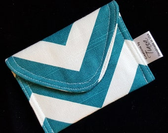 Turquoise Chevron, Business Card Case/Pouch, Credit card holder, Gift card case, Small pouch, handmade