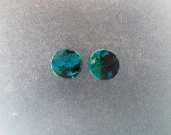 "Chrysocolla Malachite 00g, 3/8"" Ear plugs one pair"