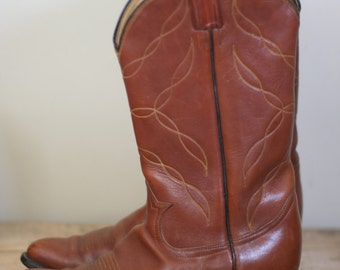 vintage tony lama brown leather cowboy boots size 10D