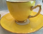 2 Antique Adderley Cups and Saucers Sets/ Yellow Body/Gold Trim/Fancy Dishes/Cabinet Display/Tea Party/Dinner Party