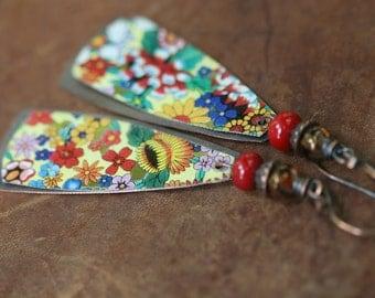 Rustic Vintage Tin  *Earth Gardens series* earrings n79 - Floral Tin . Garden . Repurpose Tin . Artisan . Assemblage . Gypsy Vintage Tin