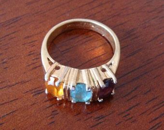 Vintage Vargas 18k G.H.E. Ring w/ 3 Gems or Rheinstones, Costume Jewelry