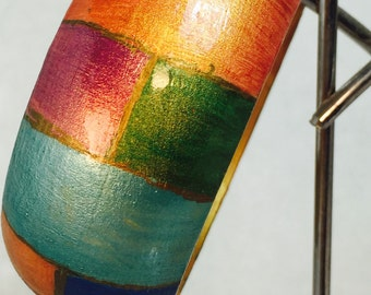Wood bold color statement bangle.
