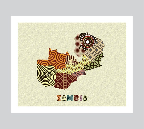 Zambia Map Art Print Wall Decor Zambia Poster Lusaka Zambia