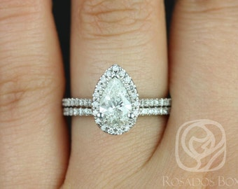 Rosados Box Ready to Ship Conflict Free Tabitha 1.02cts 14kt White Gold Pear Diamond Halo Classic Wedding Set