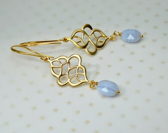 Blue lace agate earrings Endless knot Swirl earrings Gold filigree earrings Gemstone drop earrings Dangle earrings Summer jewelry