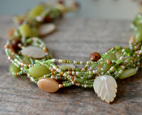 Rustic multistrand necklace Moss green multi layer necklace Glass bead semi precious stone necklace Nature inspired jewelry Pantone greenery