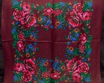 Russian Shawl with lurex, Ukrainian Scarf. Chale russe. Burgundy shawl. Traditional scarf ukraine. Ukrainian holiday platok, foulard russe
