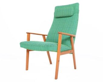 Danish Mid Century Modern Highback Teak Lounge Chair in Green Plaid