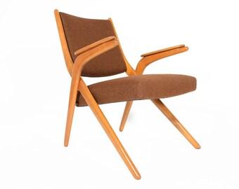Danish Mid Century Modern Beech Scissor Chair in Tawny Wool