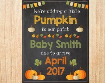 Pumpkin Pregnancy Announcement Sign PRINTABLE Fall Autumn new baby chalkboard poster pumpkin patch Halloween