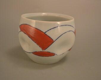 Deeply dimpled - dexterously decorated -   devoid of handles - blue celadon mug - porcelain mug - coffee mug - tea mug