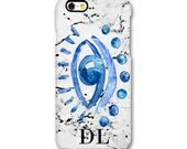 SALE - Evil Eye marble monogram phone case - large initials - iPhone SE, iPhone 7, iPhone 7, Samsung Galaxy S6 S7
