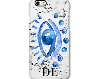 Evil Eye marble monogram phone case - large initials - iPhone SE, iPhone 7, iPhone 7, iPhone 6 Plus, Samsung Galaxy S6 S7