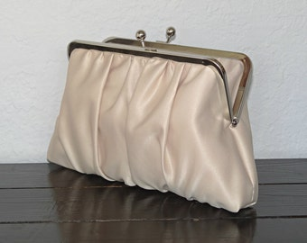 Satin Bridal Clutch in Champagne or Any Color, Bridesmaid Clutch, Wedding Purse