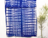African Mudcloth Textile with Bright Blue Tie Dye Pattern Blue Mud Cloth Fabric