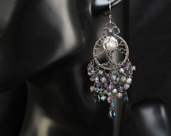 London Blue Topaz, Labradorite, Amethyst, Freshwater Pearl, Full Moon Tree of Life Earrings