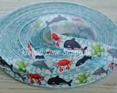 "7/8"" Ribbon by the Yard-Sea Animal-Shark Whale Turtle-polk dot grosgrain ribbon-supplies by Ribbon Lane Supplies on Etsy"