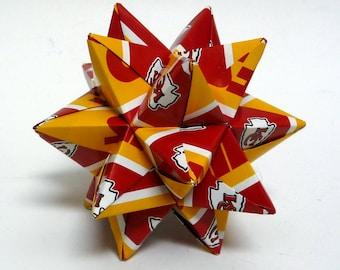 Medium Origami Star Made From Licensed Kansas City Chiefs Paper, Chiefs Star, Kansas Football Ornament, Kansas Chiefs Decoration