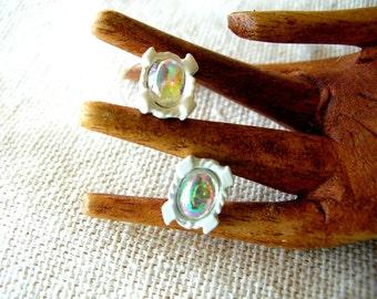 Aurora Borealis Earrings - Small Post Earrings - White Earrings - Small White Post Earrings