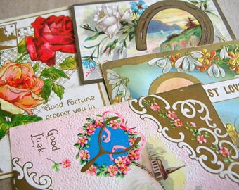 4 Antique Victorian Post Cards - Vintage Good Luck Post Cards - Victorian Posey Ephemera - Vintage Ephemera - Vintage Greeting Cards