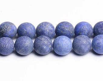 Matte Lapis Lazuli Gemstone Beads, 8mm Round - 15 inch strand - eGR-LL003-8